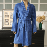 Colorful striped terry robe