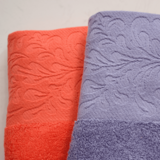 Flower satin edged bath towel